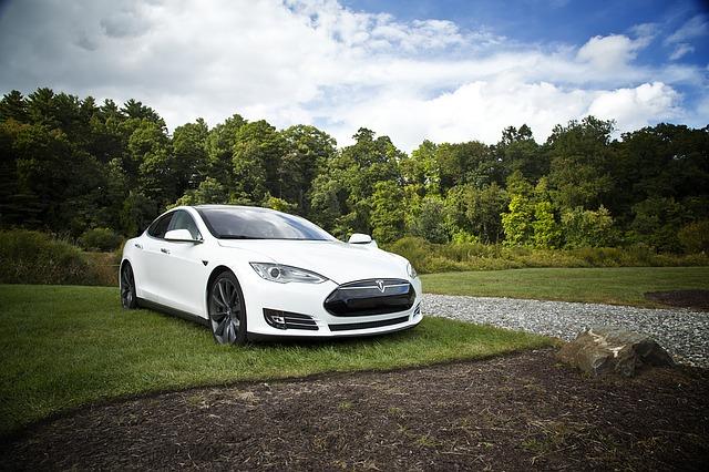 elektrické auto na trávníku